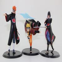 Wholesale 3pcs set Japanese Anime Uzumaki Naruto Pain Uchiha Sasuke PVC Action Figures Cartoon Models Toys Christmas Gifts