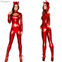 Wholesale New Arrival Halloween Costumes for Women cosplay masquerade devil costume sexy red patent leather piece suits girl clothing