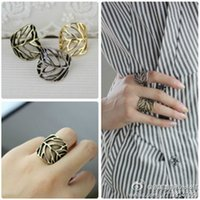 Middle Eastern best european bands - 2015 New European And American Fashion Trends Leaves Exaggerated Influx Of People Ring Hollow Bronze Antique silver Alloy Rings Best Gifts