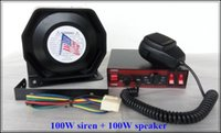 Cheap Free shipping! DC12V 100W Police car ambulance fire truck siren alarm warning siren amplifires with remote + 100W speaker,ship by fast mail