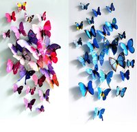 Wholesale 12pcs Creative Butterflies D Wall Stickers Removable Home Decors Art DIY Plastic Decorations Purple Green Blue Yellow