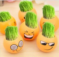 Wholesale 1111 Office of the mini plant potted green grass planting grass doll QQ expression ecological bottle