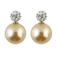 Wholesale Brinco Perola Fashion Round Shape Double Imitation Pearl and Rhinestone Jewelry Candy Color Stud Earrings For Women
