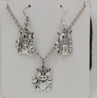 Wholesale Hot Jewelry Set Antique silver CUTE PIG PIGGY FLOWER Gift Set Necklace Earrings Jewelry Set ab700