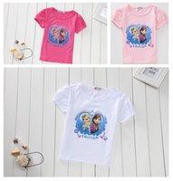 frozen tshirt - 10pcs Children Girls Summer Tshirts Froze Kids Clothing Short Sleeve Elsa Anna Puff Sleeve Tshirt Childs Cartoon Cotton Tops H2020