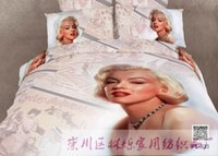 Cheap Queen size Pure cotton reactive print 3d bedding sets 4pcs Personalized 3D active cotton denim figure painting of Marilyn Monroe swing trad
