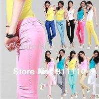 Wholesale Drop shipping New fashion Slim Elastic jeans Candy color pencil pants trousers Sexy women HOT SALE S XXXL