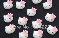 Cheap Wholesale-200pcs lovely kitty w  rhinestone bow kawaii resin Cabochons 15mm hair clips, embellishment, DIY SZ0234