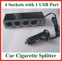 Wholesale 100pcs Sockets Splitter Way Auto Car Cigarette Lighter Socket Power Adapter Supply Splitter Charger with USB Port DC V A