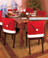 Wholesale christmas gift set of Santa Clause Red Hat Chair Back Covers for Christmas Dinner Decor NewParty Supply Favor