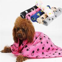 Blankets & Throws printed fleece blanket - Cute Design Paw Print Soft Warm Fleece Pet Blanket Dog Cat Mat Puppy Bed Sofa Blanket