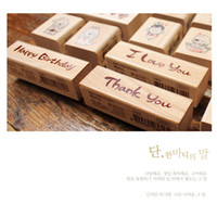 Wholesale DIY New Blessing Wood Stamps I love you Happy Birthday Thank you Stamp Gift Scrapbooking