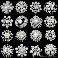 wholesale brooches - More style Snowflake Bouquet Wedding Silver Flower Rhinestone Crystal Brooch Pin fashion charm women party dress Brooch