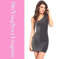metallic mini dress - 2015 New One Shoulder Metallic Mini Dress one shoulder dress dress leopard