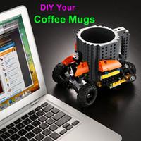 Wholesale Drink Coffee Mugs Creative Build On Brick Mug DIY Bricks Cup Lego Pixelblocks Mega KREO K NEX Compatible Block Cups Fashion