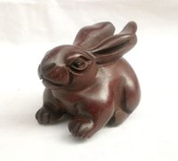 animal netsuke - ORIENTAL OLD BOXWOOD HANDWORK CARVING RABBIT NETSUKE