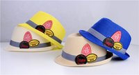 Wholesale 2015 New baby boy Korean style Spring summer Design Solid Strawhats Beach Hat Sun Hat
