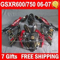 bacardi black - 7gifts For SUZUKI GSXR750 BACARDI bats K6 Body GSXR600 L6106 GSX R600 R750 GSXR GSX R750 Red black Fairing