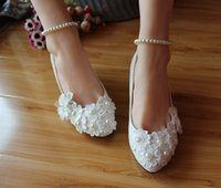 Cheap 2015 Hot sale white ivory leather charming lace wedding shoes high quality with appliques pearls exquisite romantic heel bridal shoes