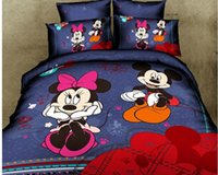 100% Cotton wholesale sheets - Mickey and Minnie Mouse King FUll Queen Size Bedding sets Bedclothes Sheet set Duvet covers Quilt Cover