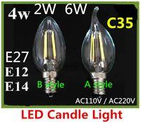 Wholesale 2W w W Cob filament Led Candle Light Bulb Lamp v v e12 e14 Led Bulb crystal lamp chandelier warm white bright lamp