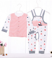 Wholesale Size Suits Suspenders - Suit For Infant 100% Cotton Long Sleeve Newborn Clothing Sets Cardigan + Suspenders Pants Baby 2Pcs Sets Size For 66-73-80 6Set Lot K496