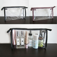 wholesale pvc cosmetic bags - Holesale Clear Transparent Plastic PVC Travel Cosmetic bag Make Up Organizer Bag Zipper BLACK Cheap Cosmetic Bags DHL Free
