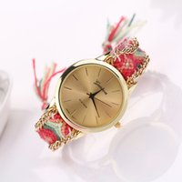 Wholesale Fashion Handmade Weave Geneva gold Watches New Hot Sale Women Braid Knitted Brand Analog Wristwatches