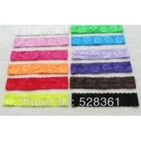 assorted stretch lace - 24pcs quot Soft Stretch Lace Headbands Assorted Colors Pack Baby Girls Headbands fold over elastic Hairbands for Newbown