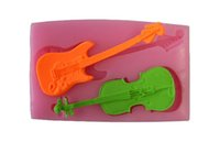 Cheap Ferramentas Bolo Violin And Guitar 3D Fondant Silicone Cake Mold Cake Decorating Tools Moldes De Silicona For Soap Color Pink