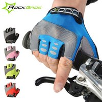 Wholesale 2015 ROCKBROS Fashion Cycling Mens Women s Gel Pad Half Finger Gloves Bike Bicycle Cycle Non Slip Breathable Gloves Color