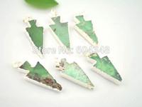 australia pen - crystal luxury Crystal Shiny Ocean Green color Australia Jade Stone Pendant Silver plated Arrow shape Quartz Druzy Drusy Gem Charm Pen