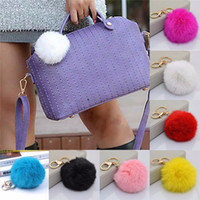 Wholesale Rabbit Fur Ball bags Pendant fashion accessories Cell Phone chain Car Charm Handbags Soft plush Keychains Key rings Christmas gift for women