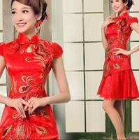 custom made cheongsam - Vintage Short Wedding Dresses Red Cheongsam Satin Lace Slim Sheath Chinese Cheongsam knee Length Party Pageant Evening Dresses Custom made