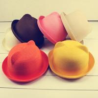 Precio de Sombrero de paja del sol-Primavera Verano Otoño Señora Niños Fedoras Sombreros lindos para las mujeres Chapéu Gorro Kentucky Derby almohadillas gato paja parasol Gorros TY1254