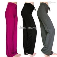 Wholesale Fitness High Waist Loose Full Length Trousers Pants Pants Sports Yoga Pants Solid Color