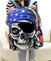 Wholesale Retail Korean backpacks for teenage kids Pirate Skull PU women knapsack designer children school bags mochila masculina HX