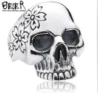 china wholesale - Size Cheap Men s Punk Heavy Metal Biker Skull Flower Skull Skeleton Rings Import Jewelry From China BR8165