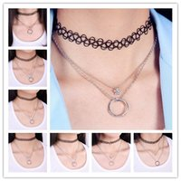 collar necklace - 2015 Promotion Pendants Watch Rinhoo Necklace Collar Vintage Stretch Tattoo Choker Grunge Henna Elastic with Heart Circle Multilayer Pendant