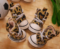 big dog puppies - Anti slip Cozy Boots Leopard Canvas Pet Puppy Small Big Dog Shoes SIZE