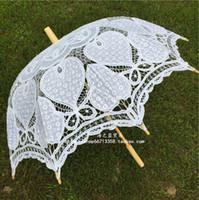Wholesale 2016 Hot Sales White Bridal Umbrella Cotton Lace Long Umbrella For Wedding Party Bride Unberlla Cheap Umbrella