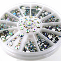 acrylic glitter mix - 10 Set New Mixed Size Glitter AB Alloy Acrylic Rhinestones Nail Art Decorations CM Grid Rotary Disc