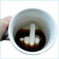 ceramic christmas - New hot Christmas gift first finger Fuck cup ceramic mug cup finger of the cup