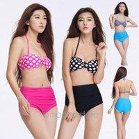 Wholesale Sex Women Bikini polka dot patterns swimwear bandeau bikini swimsuit women beachwear bandage bathing suit FY YY217