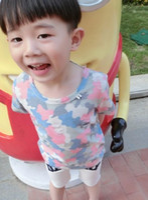 Cheap The Latest Summer Children Short Sleeve Modal Floral Printed Camouflage Bore Brief T-shirt Kids Boys Fashion Soft Casual T-Shirt N0995