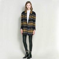 achat en gros de trench-coat en laine verte-SZ1729 2015 Nouvelle trench d'hiver vert jaune plaid manteau femmes moyen long plus grande taille veste de laine européenne manteau de mode