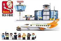 airport vehicles - Sluban Aviation Series Sets kids toys model plastic International Airport Building Blocks Transport aircraft vehicle Bricks Toy