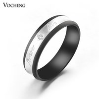 Wholesale Fashion Black Rings Titanium Steel Inlay Crystal Engagement Ring VR Vocheng Jewelry