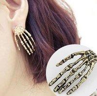 punk rock studs - 2015 New Fashion Punk Skeleton Skull Hand Ear Stud Gothic Rock Bone Skull Hand Stud Earrings