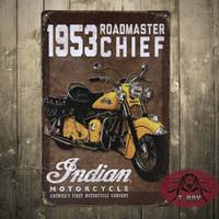 antique motor homes - 1953 INDIAN MOTOR TIN SIGN Retro Wall ART Metal Home Bar Decoration Mix order CM